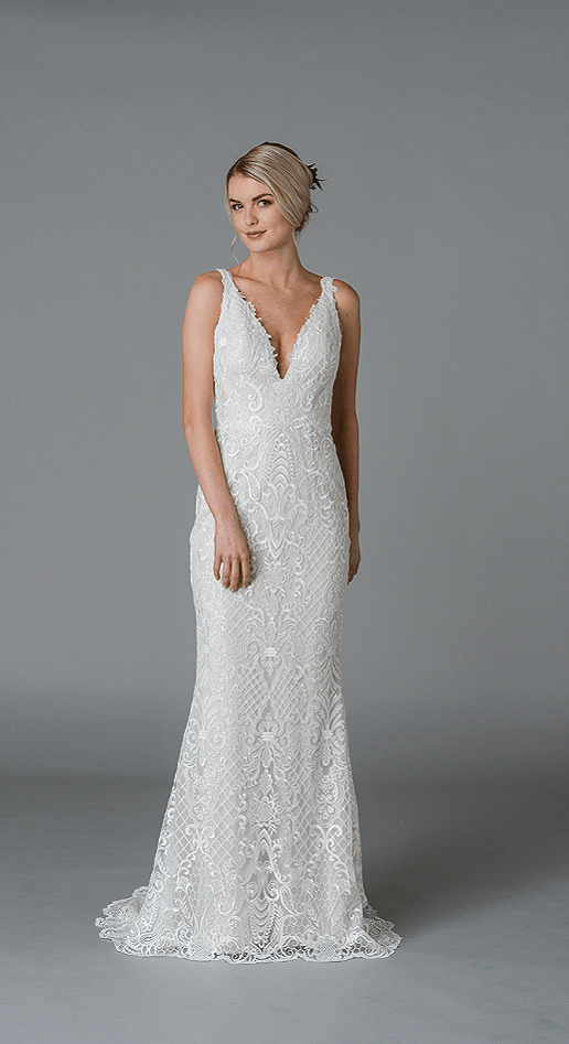 Lis Simon Lace Sheath Wedding Dress