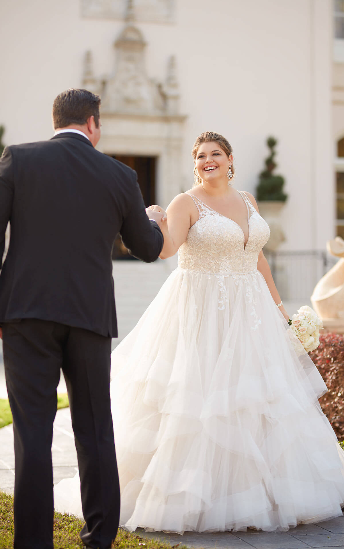 plus-sized bride in fairy tale ball gown