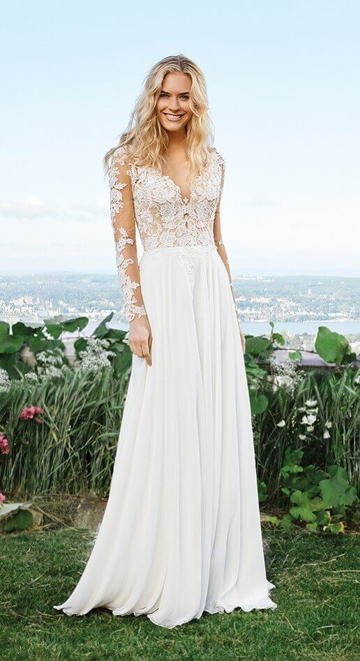 flowing boho gown with lace top for beach wedding