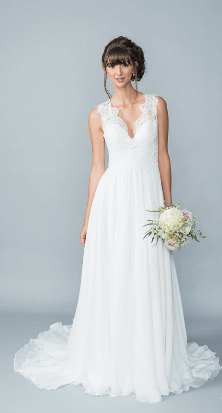 chiffon boho wedding dress with lace bodice