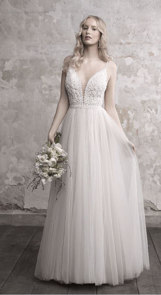 tulle boho wedding gown with plunging sweetheart neckline