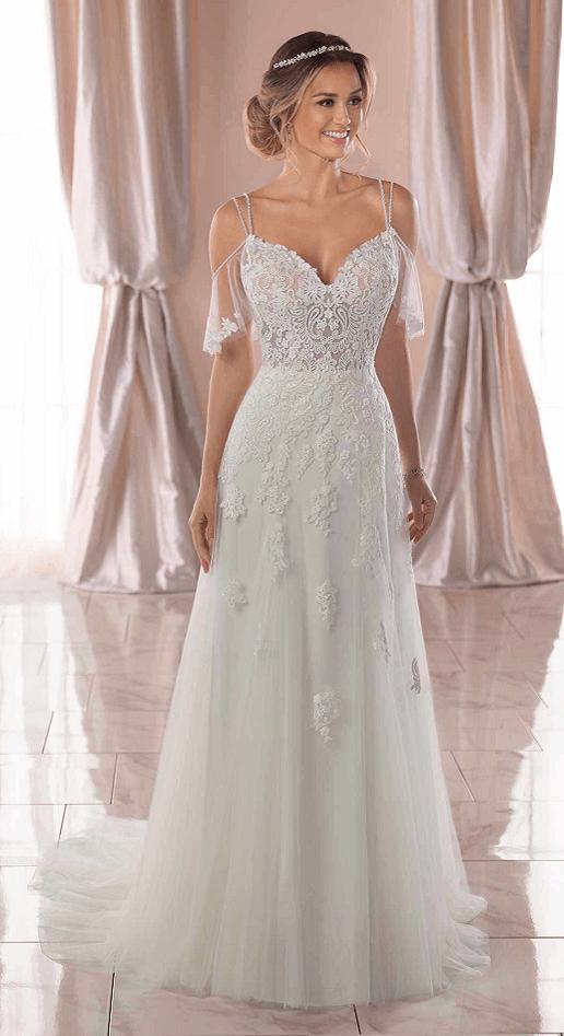 boho wedding dress with flutter sleeves