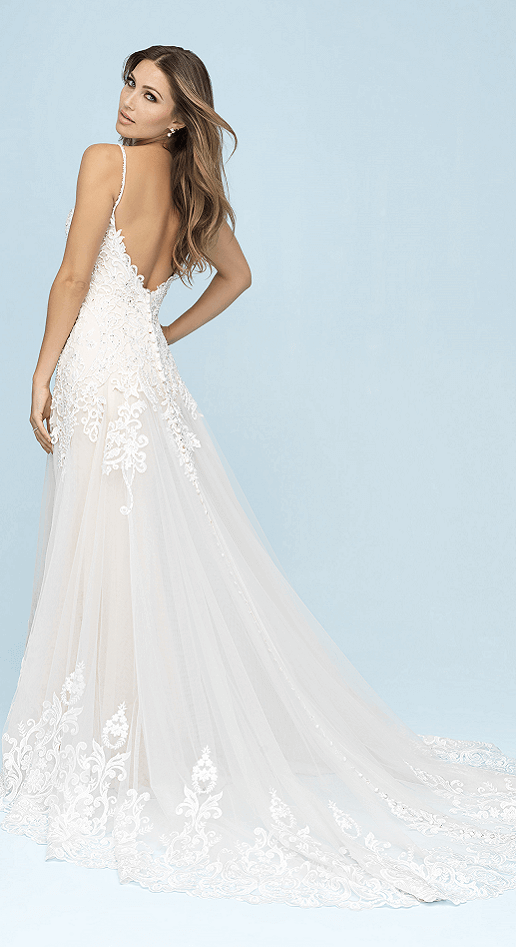 beautiful boho wedding gown with train and open back