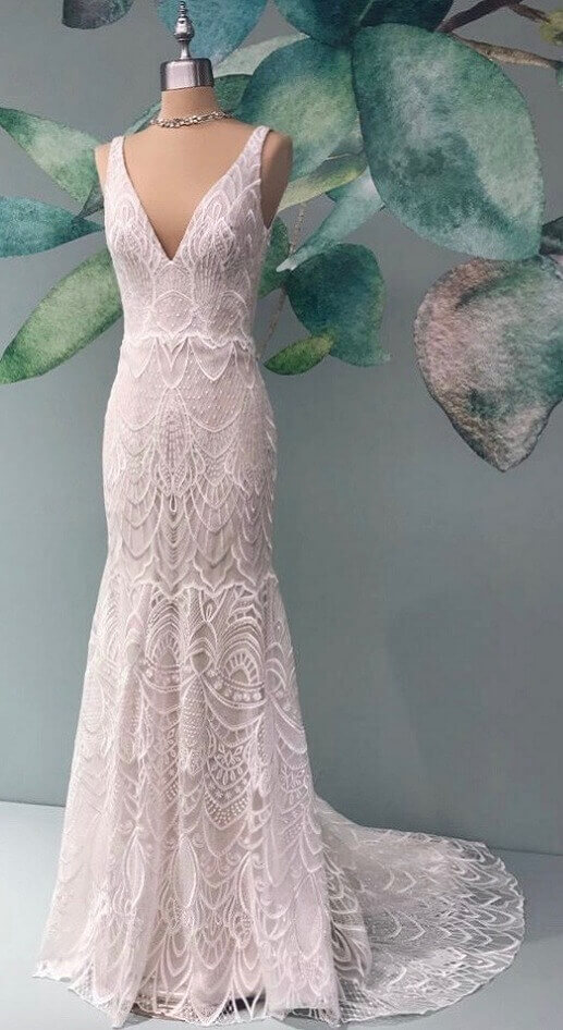 beaded boho wedding gown