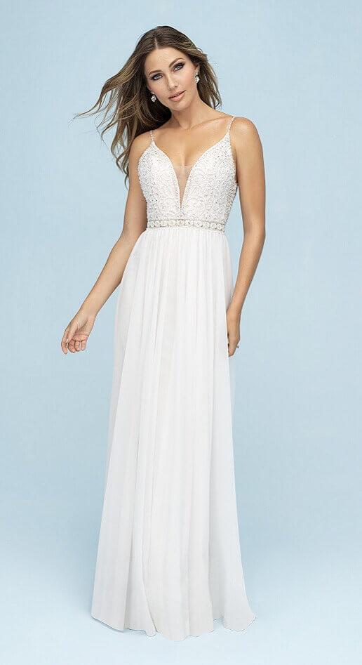 boho wedding dress with column silhouette
