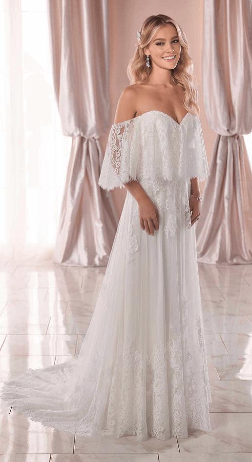 lacy boho wedding dress with bardot neckline