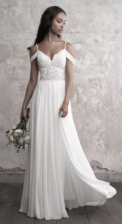 flowing boho wedding dress with off-the-shoulder straps