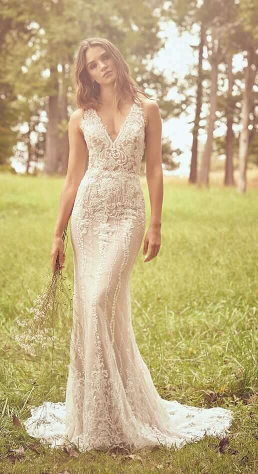 figure-hugging boho gown with sheath silhouette