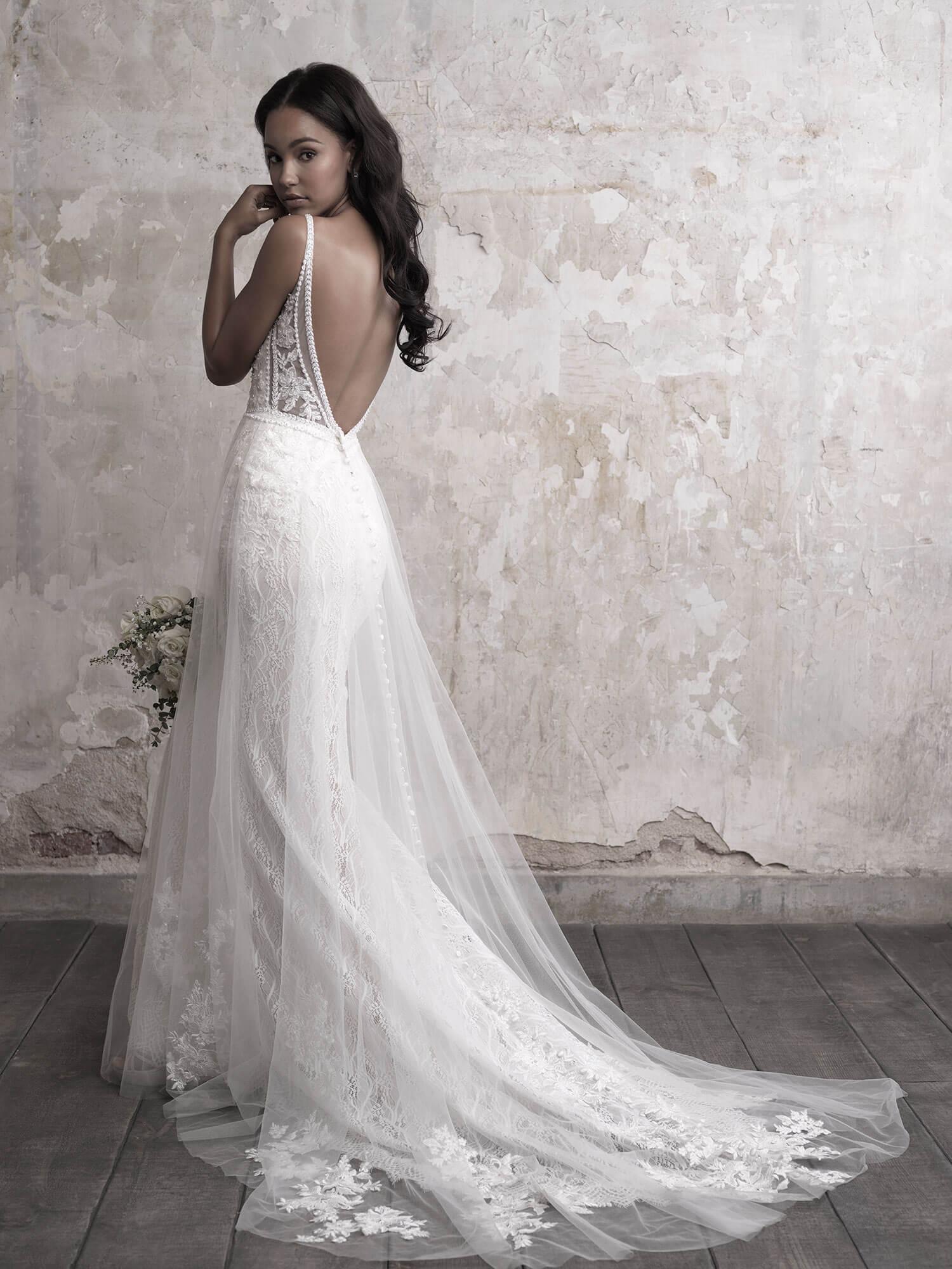 layered boho wedding dress with open back