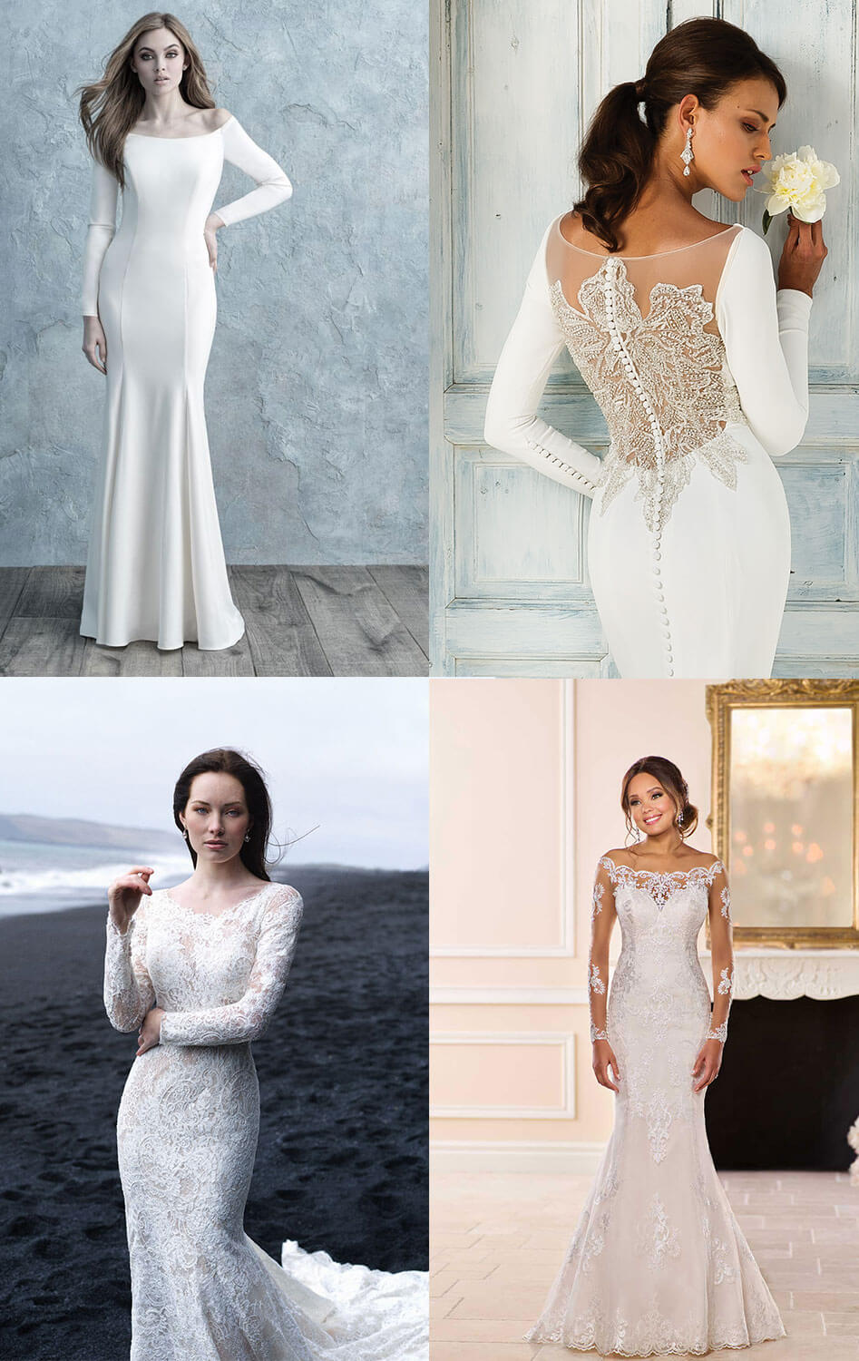 chic boat neck wedding dresses with long sleeves