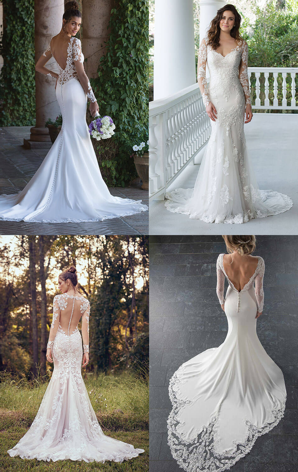 figure hugging long-sleeved wedding dresses