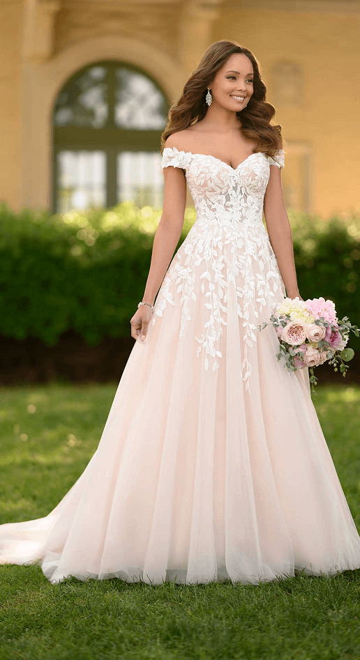 Claudine Stella York Lace Tulle Flowy A-Line