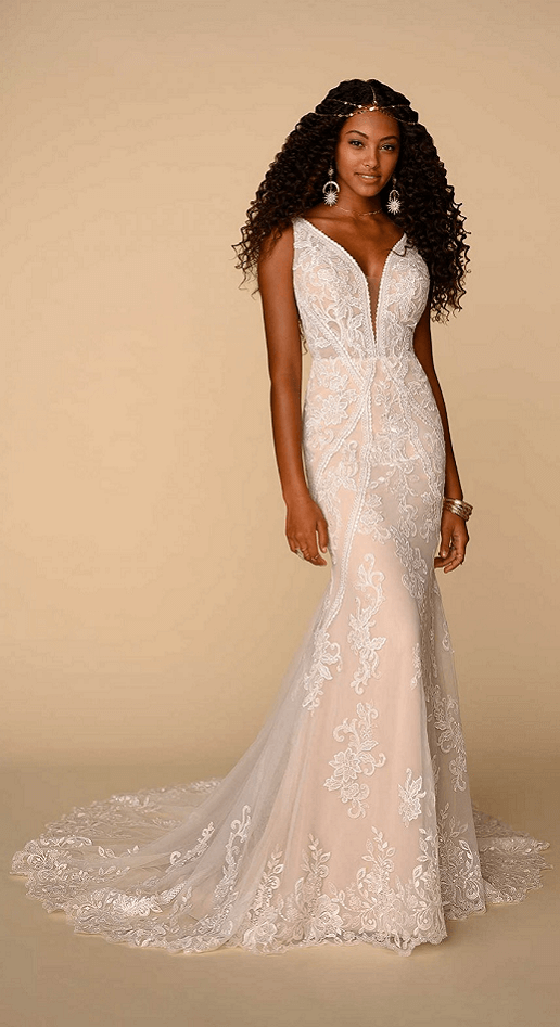 lace sheath boho gown