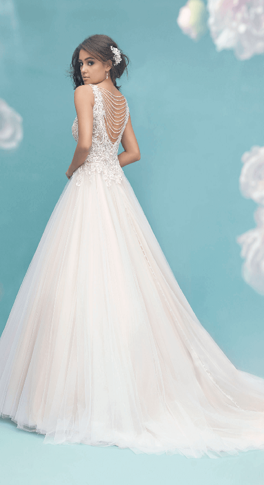 Flowing ballgown with beaded back