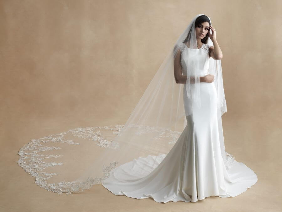 dramatic cathedral-length veil