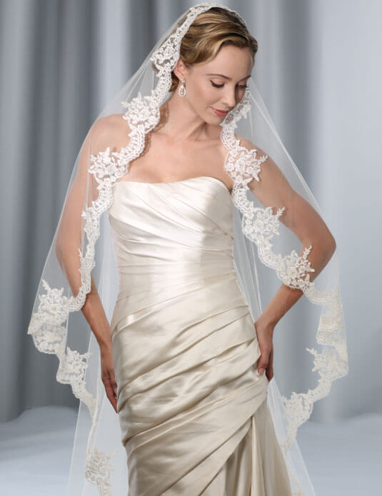 beautiful cathedral length mantilla wedding veil