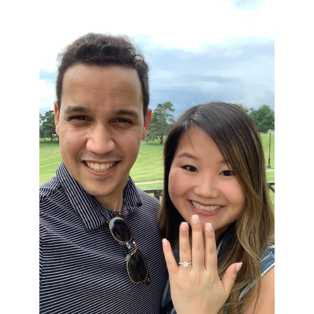 Jennifer Lee showing off her engagement ring with her fiancé, Christian