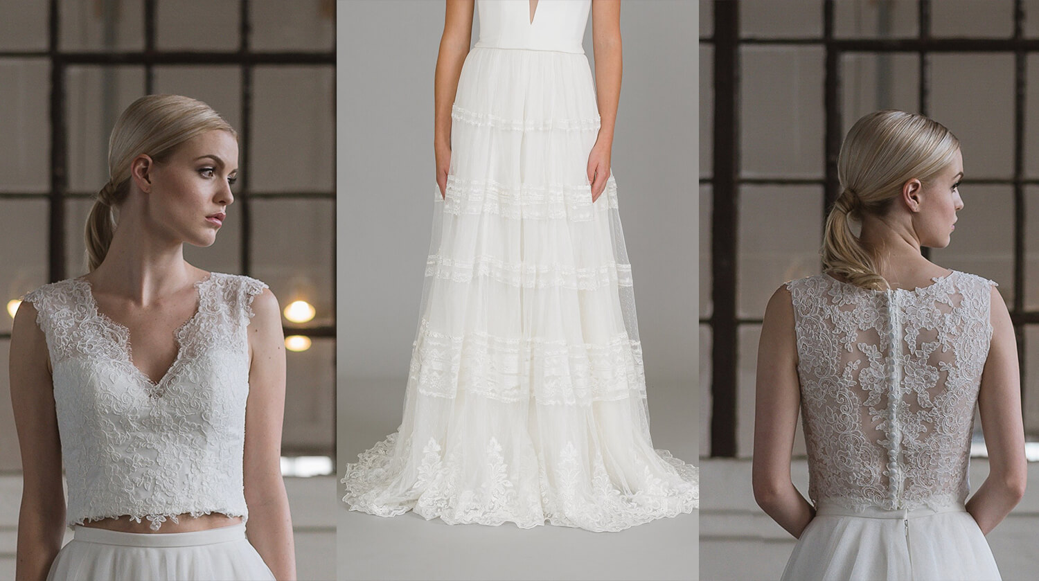 A lace top paired with a lacy skirt for a breezy spring wedding gown.