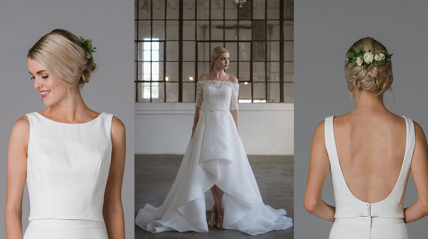 A dramatic wedding dress pairing with high-low hems and necklines