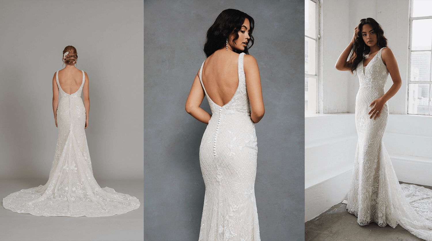 A sleek, body-hugging wedding gown by Lis Simon