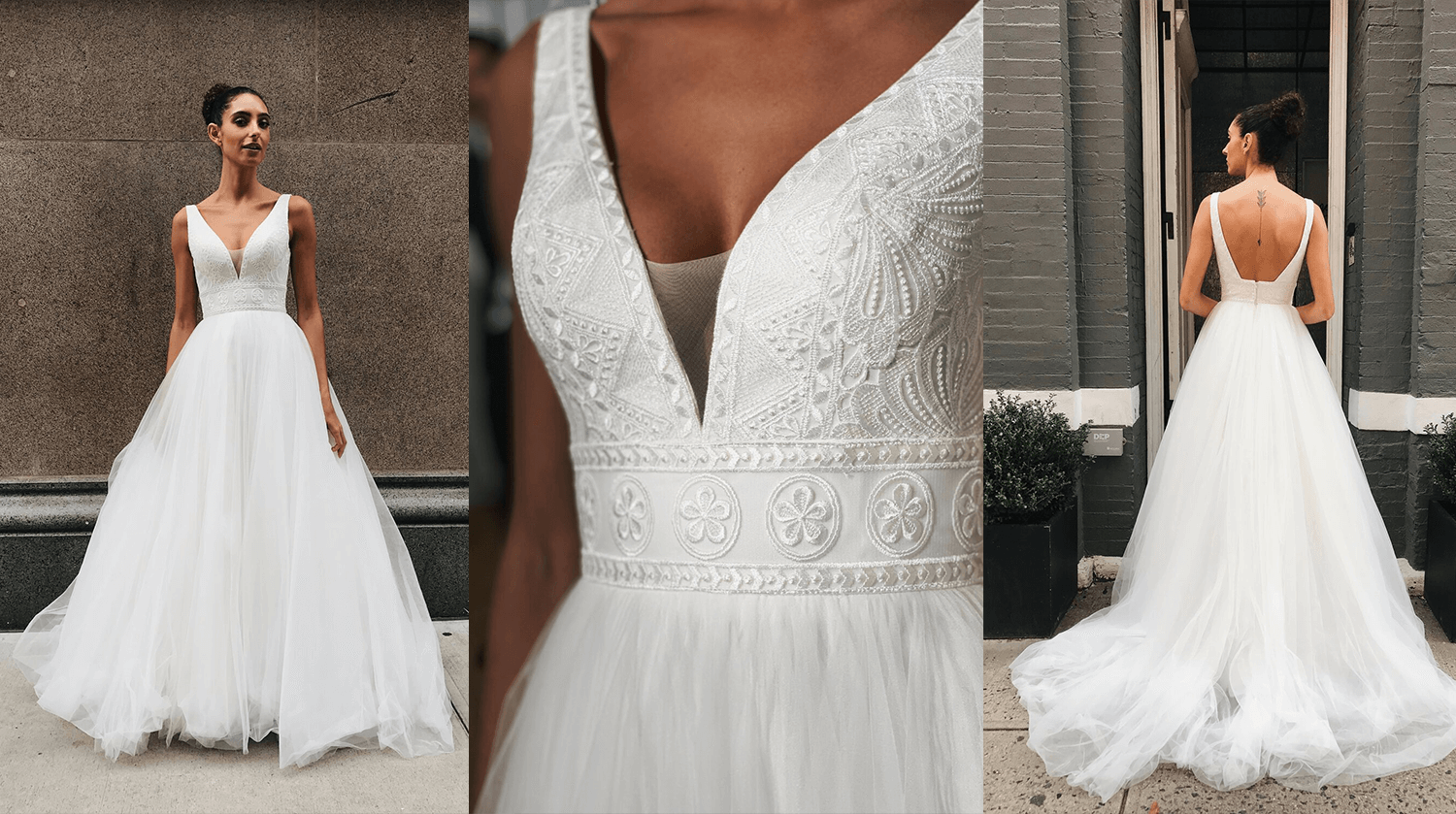 A bohemian ballgown with exquisite lace details on the bodice.