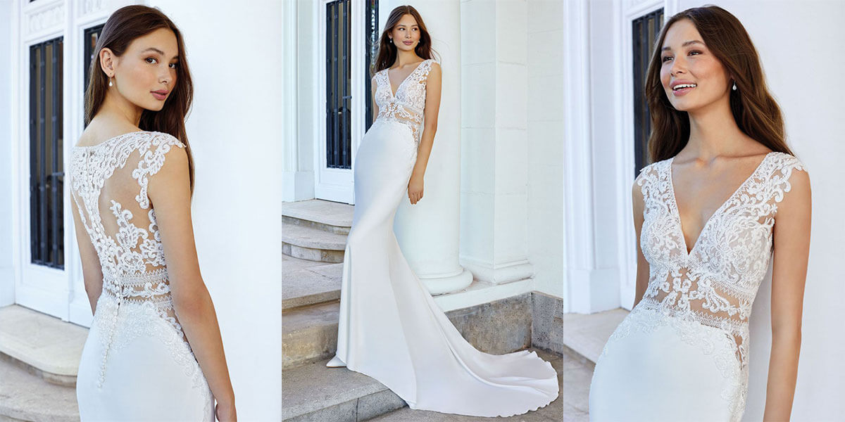A Justin Alexander gown with side cutouts and a long train