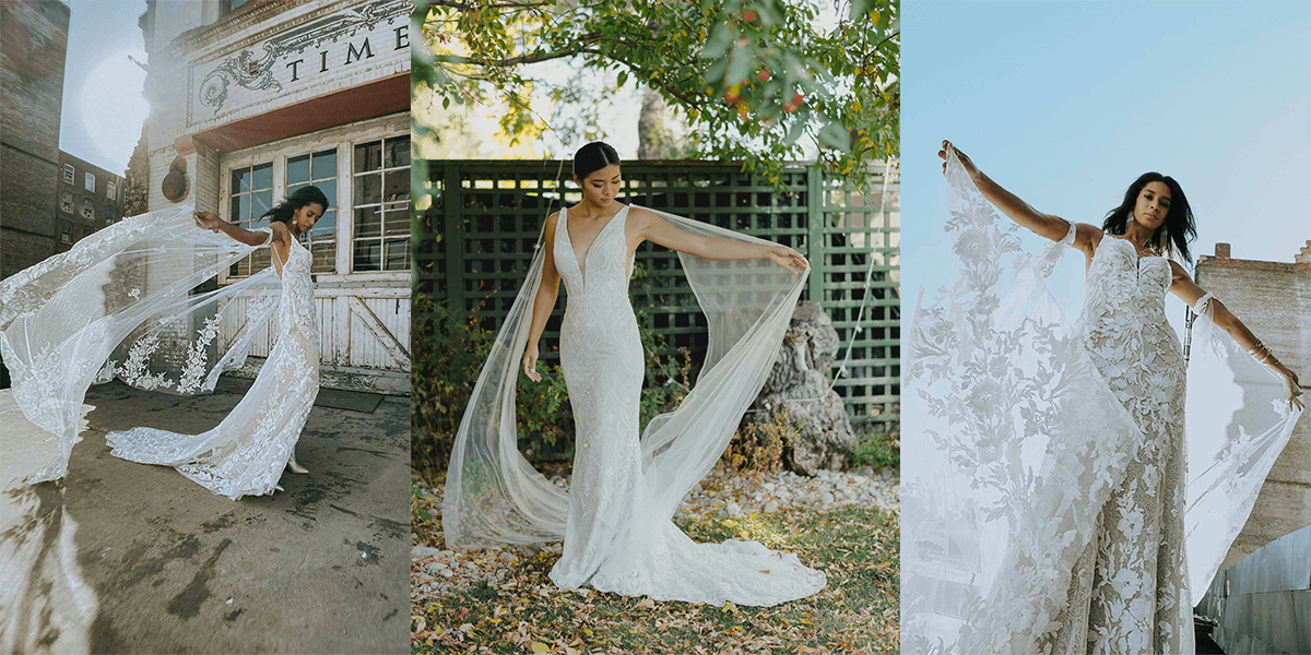 wedding gowns with streamers