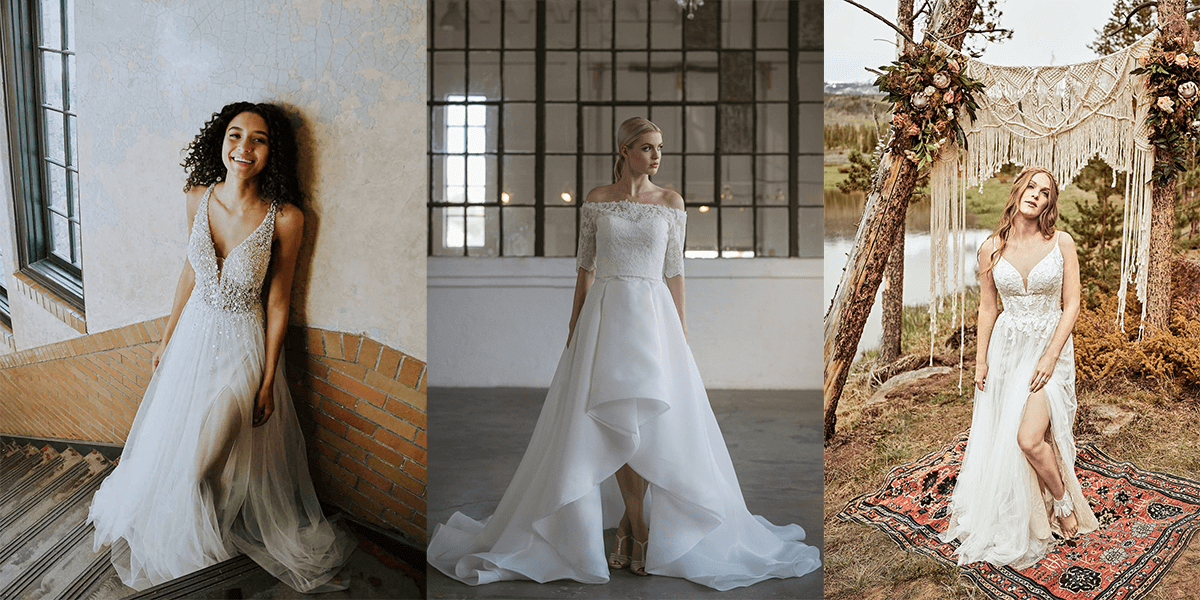 wedding gowns with high low hemlines and slits