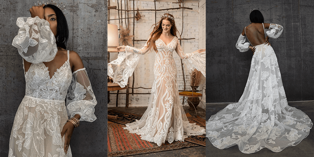 wedding gowns with romantic sleeves