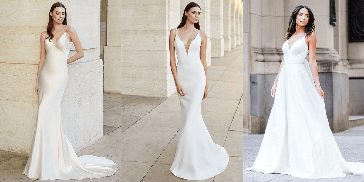 minimalist wedding gowns and slip dresses