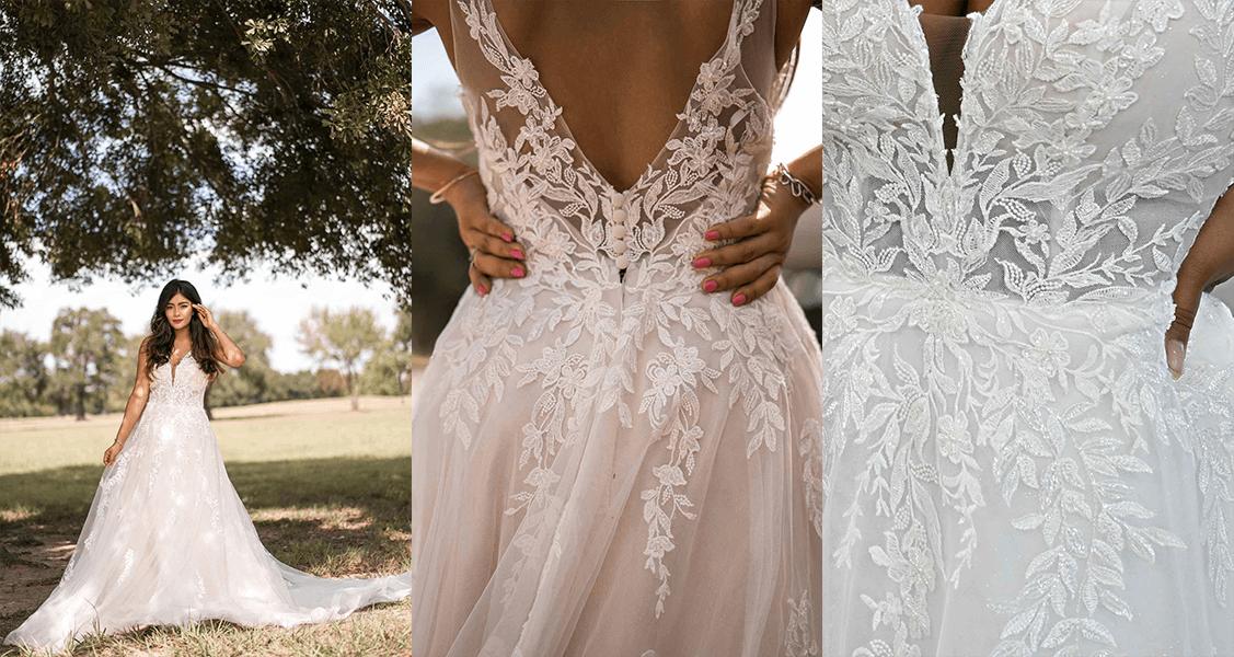Stella York 7177 vine-like lace and soft glitter on a stunning flowy A-line