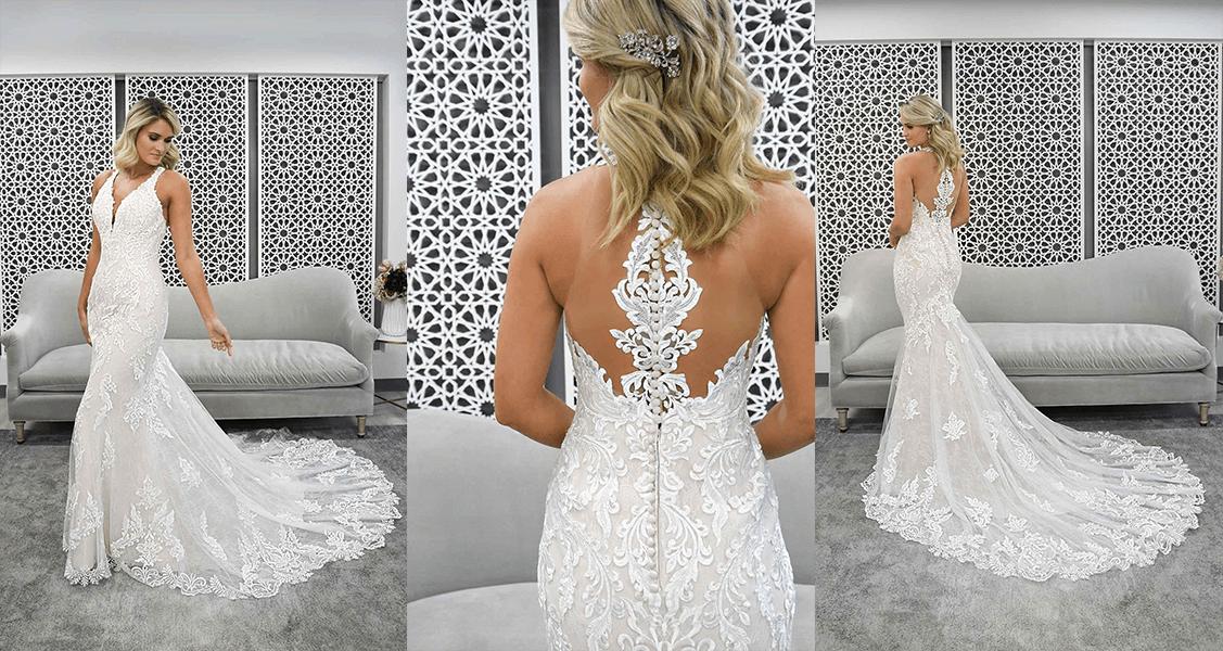 Stella York 7261 halter neckline with center back statement lace
