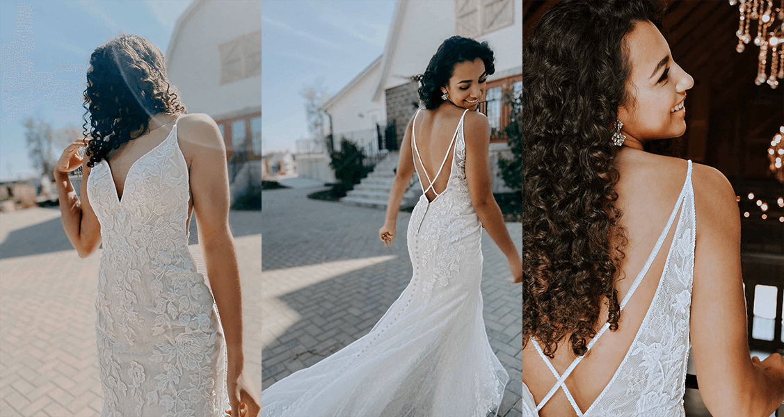 Stella York 7266 oversized lace on a plunging back