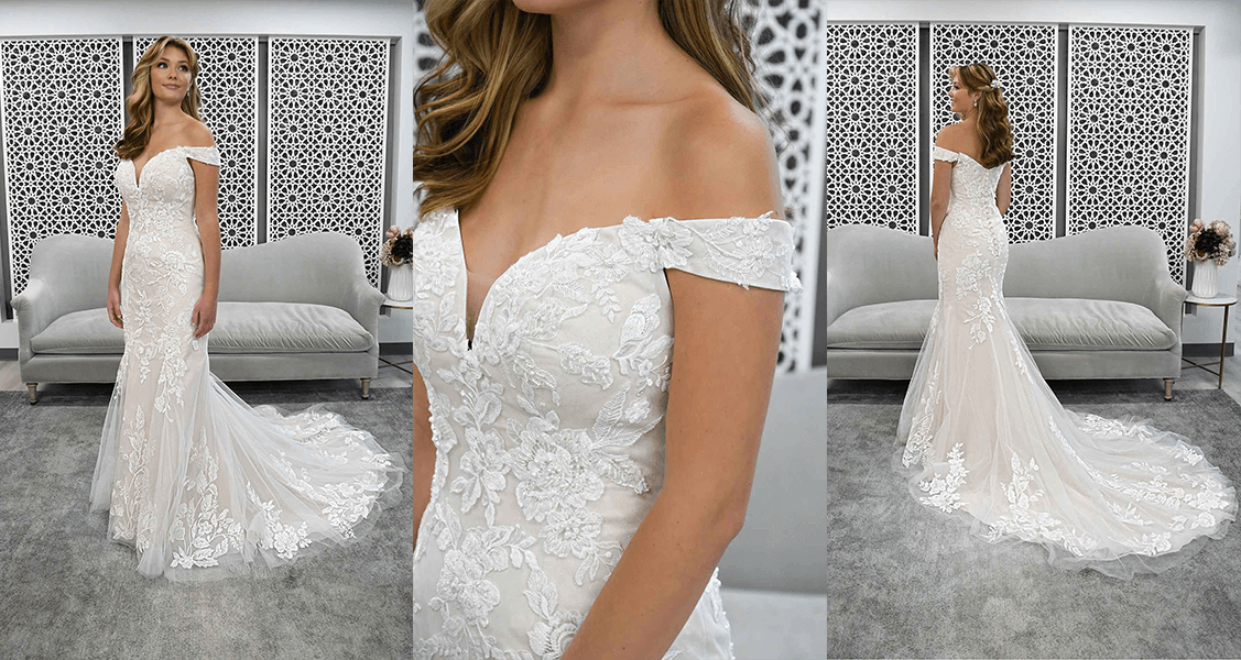 Stella York 7272 off the shoulder sleeves with pearl beaded lace