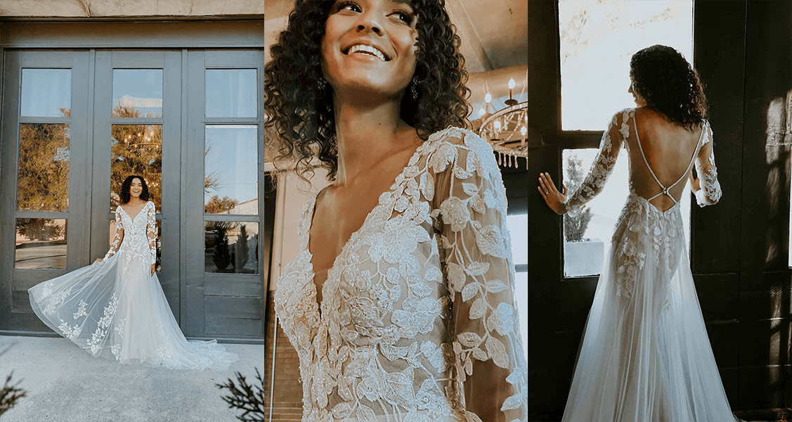 Stella York 7289 long-sleeved, statement lace with an open back