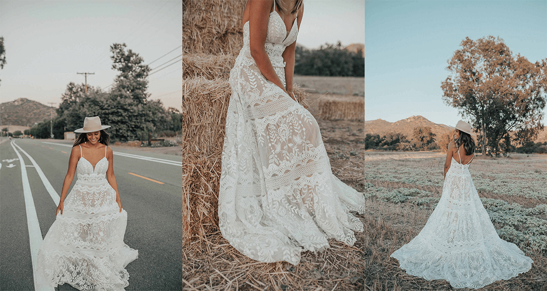 Alyx wedding gown from All Who Wander with tiered lace