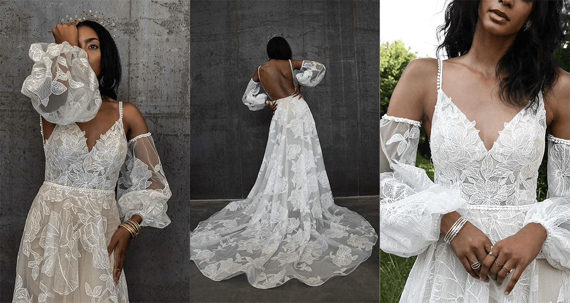 Apsen wedding gown from All Who wander featuring oversized lace and bell sleeves