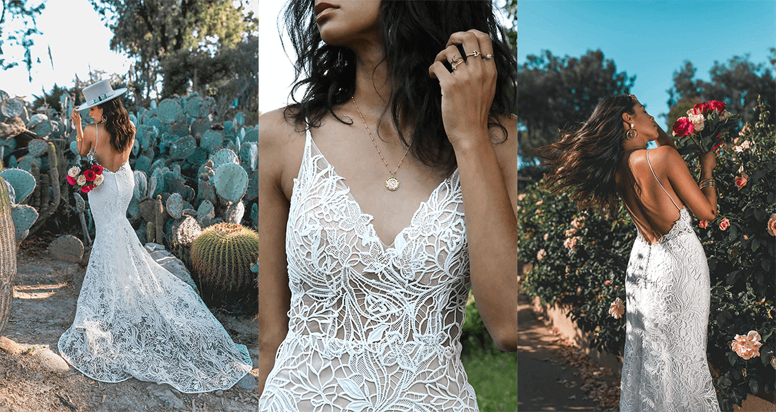 Bodhi wedding gown from All Who Wander featuring unique lace design