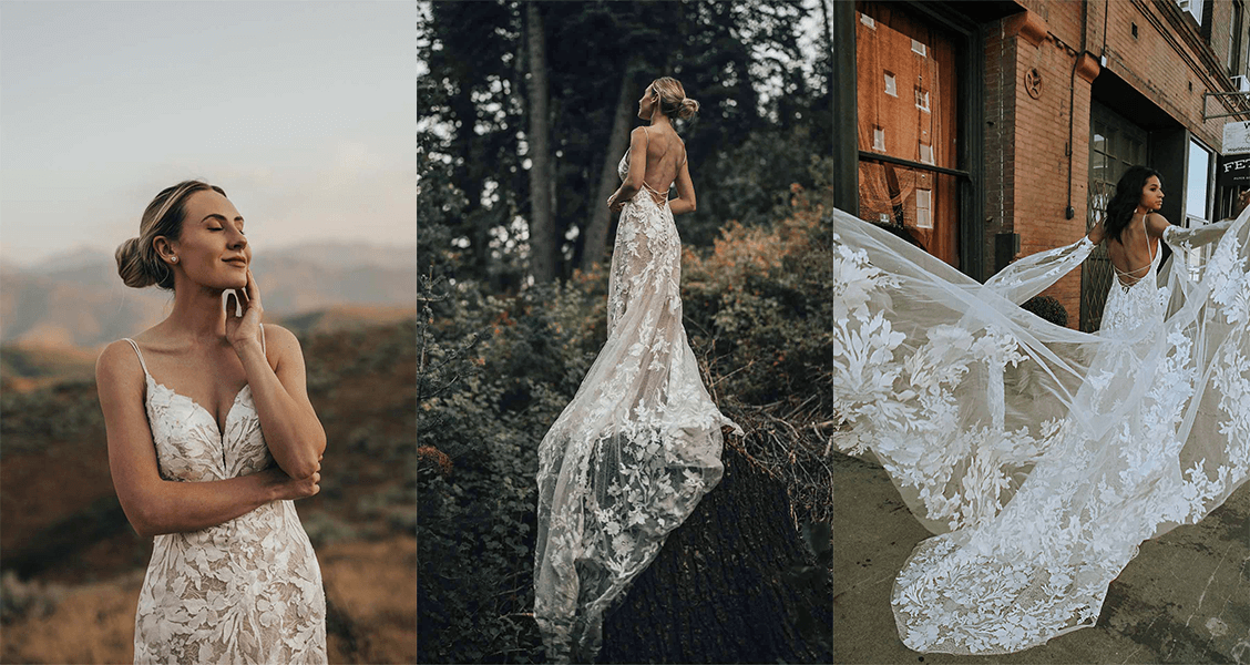 Bowie wedding gown from All Who Wander with flowing lace sleeves