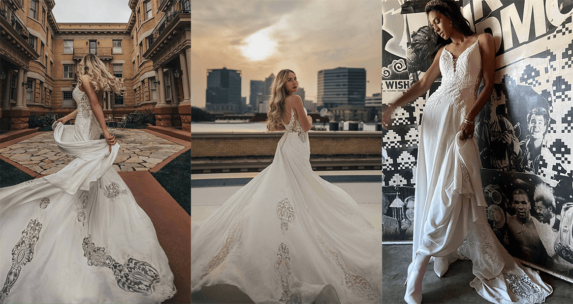 Delta wedding gown from All Who Wander featuring lace window cutouts