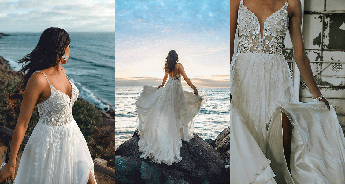 The Muse wedding gown from All Who Wander with a high slit and flowing layers.