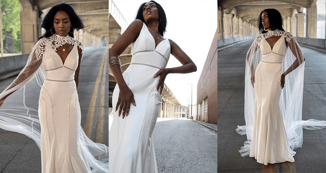 The Rory wedding gown from All Who Wander featuring a dramatic cape