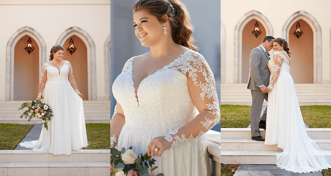 The Arwyn gown from Stella York in plus-size, featuring lace sleeves and a flowing skirt.