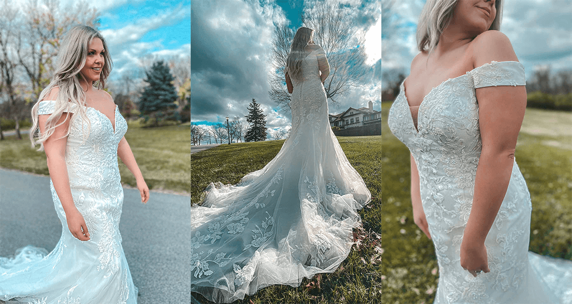 The Carmel gown from Stella York featuring a mermaid silhouette and off the shoulder straps.