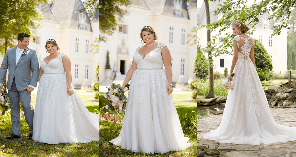 The Iris gown from Stall York in plus size with a sweetheart neckline and illusion lace back.