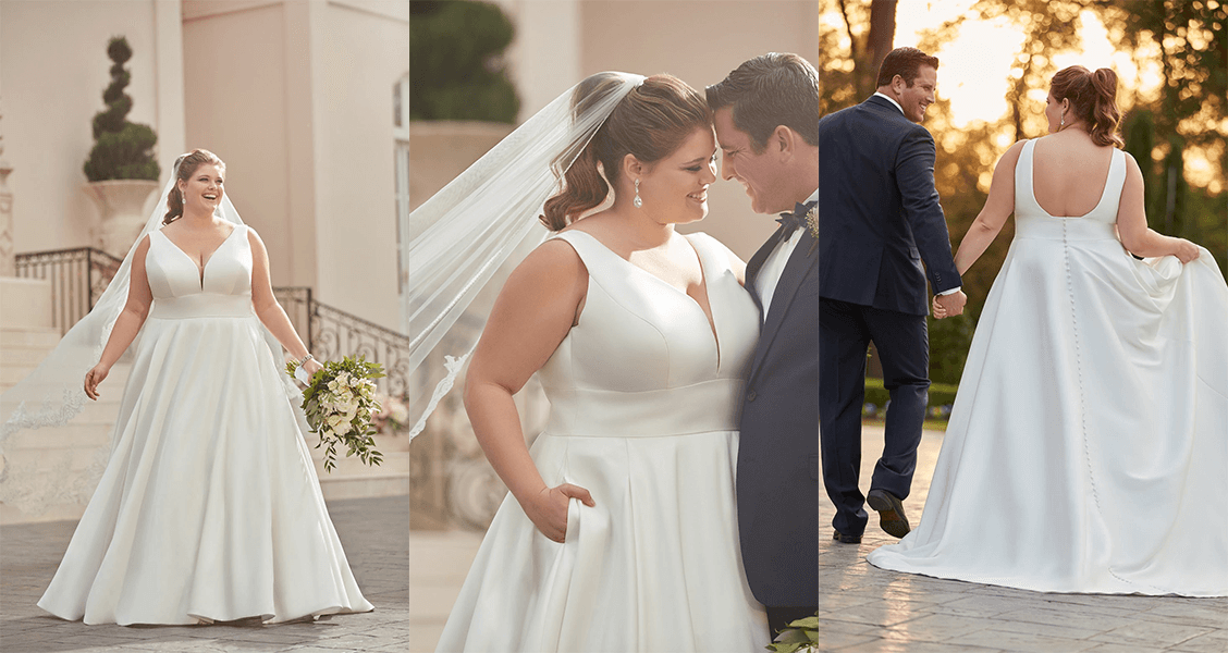 The Liv wedding gown from Stella York in plus size featuring a low scoop back and covered buttons.