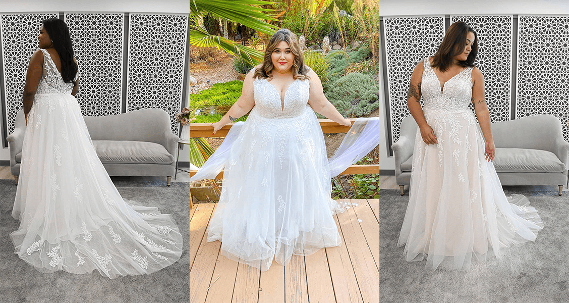 The Marcie gown in plus-size with a flowing, lacy, A-line silhouette.