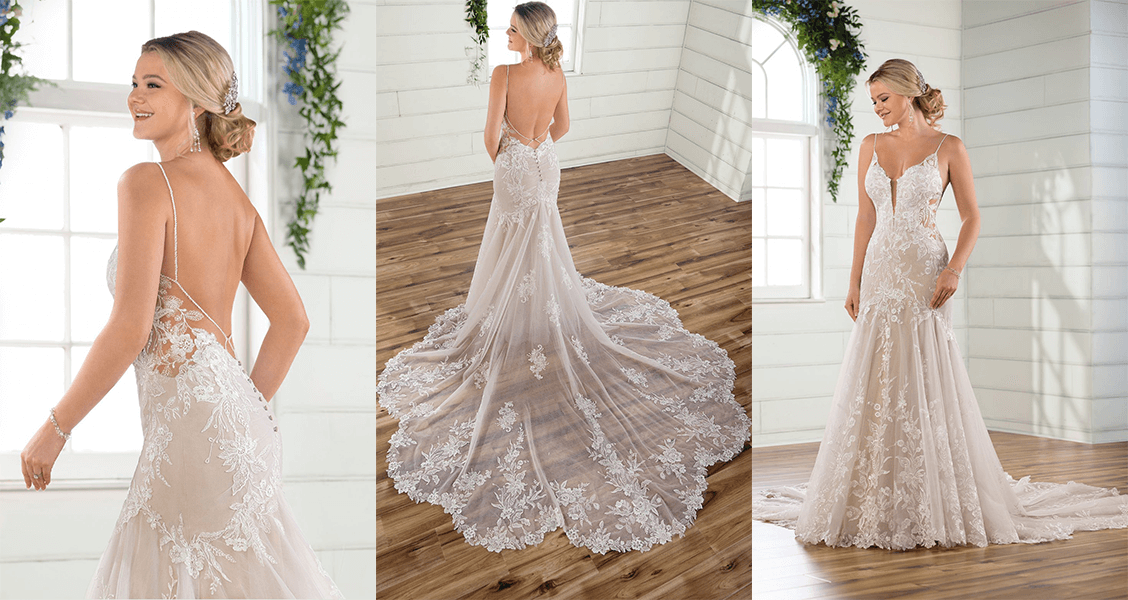 Essense of Australia D2770: A stunning backless gown with a trumpet silhouette.
