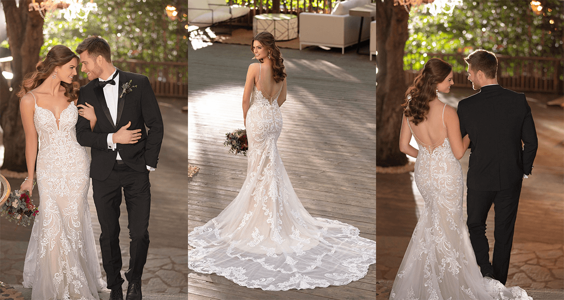 Essense of Australia D2771: A fit-and-flare gown with a delicate beaded back.