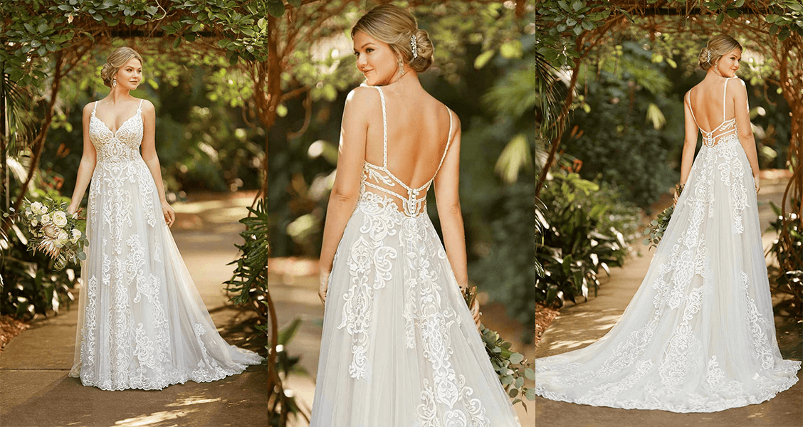Essense of Australia D3094: A flowing A-line with a statement back.